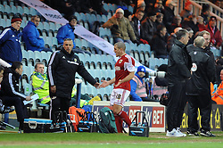 Bristol City's Adam El-Abd receives a red card, and leaves the pitch - Photo mandatory by-line: Dougie Allward/JMP - Mobile: 07966 386802 11/03/2014 - SPORT - FOOTBALL - Peterborough - London Road Stadium - Peterborough United v Bristol City - Sky Bet League One