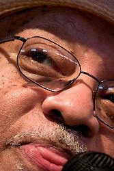 April 23rd, 2005. New Orleans, Louisiana,  USA. <br /> New Orleans Jazz and Heritage Festival. JazzFest.<br /> Legendary Jazz pianist Ellis Marsalis plays the Jazz tent.<br /> Ellis Marsalis passed away April 1st 2020 of complications associated with Coronavirus - COVID-19.<br /> Photo ©; Charlie Varley/varleypix.com