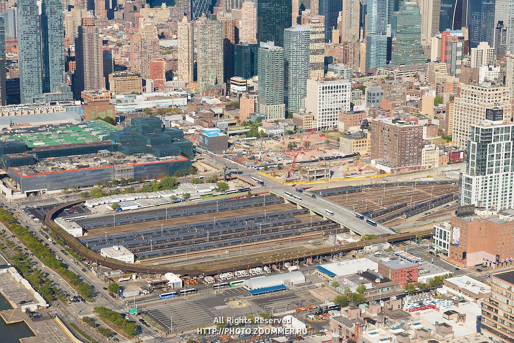 Trains in LIRR on Manhattan, New York