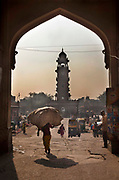 Ghanta Ghar, or Clock Tower frames the Victorian market square on 21st February 2018 in Jodhpur, Rajasthan, India. Popularly known as the Blue City, Jodhpur is a city in the Thar Desert of the northwest Indian state of Rajasthan.  Jodhpur is the Handicraft Hub of India.