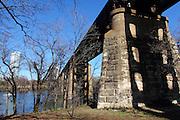 Old rail bridge across Lady Bird Lake in South Austin