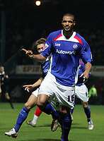 Photo: Paul Thomas.<br />Chesterfield Town v Charlton Athletic. Carling Cup. 07/11/2006.<br /><br />Caleb Forlan of Chesterfield celebrates his goal.