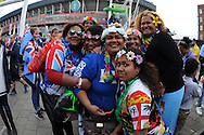 a group of female Fiji fans pose outside the stadium. Rugby World Cup 2015 pool A match, Australia v Fiji at the Millennium Stadium in Cardiff, South Wales  on Wednesday 23rd September 2015.<br /> pic by  Andrew Orchard, Andrew Orchard sports photography.
