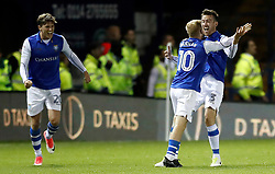 Sheffield Wednesday's David Jones (right) celebrates scoring his side's first goal of the game during the Sky Bet Championship match at Hillsborough, Sheffield.