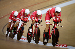 Denmark Men Team Pursuit led by Casper Von Folsach in qualifying during day one of the 2018 European Championships at the Sir Chris Hoy Velodrome, Glasgow. PRESS ASSOCIATION Photo. Picture date: Thursday August 2, 2018. See PA story SPORT European. Photo credit should read: John Walton/PA Wire. RESTRICTIONS: Editorial use only, no commercial use without prior permissionduring day one of the 2018 European Championships at the Sir Chris Hoy Velodrome, Glasgow. PRESS ASSOCIATION Photo. Picture date: Thursday August 2, 2018. See PA story SPORT European. Photo credit should read: John Walton/PA Wire. RESTRICTIONS: Editorial use only, no commercial use without prior permission