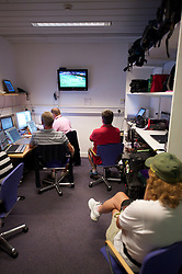 LONDON, ENGLAND - Wednesday, June 23, 2010: Media working in the press centre whilst the Slovenia v England World Cup match is broadcast on televisions on day three of the Wimbledon Lawn Tennis Championships at the All England Lawn Tennis and Croquet Club. (Pic by David Rawcliffe/Propaganda)