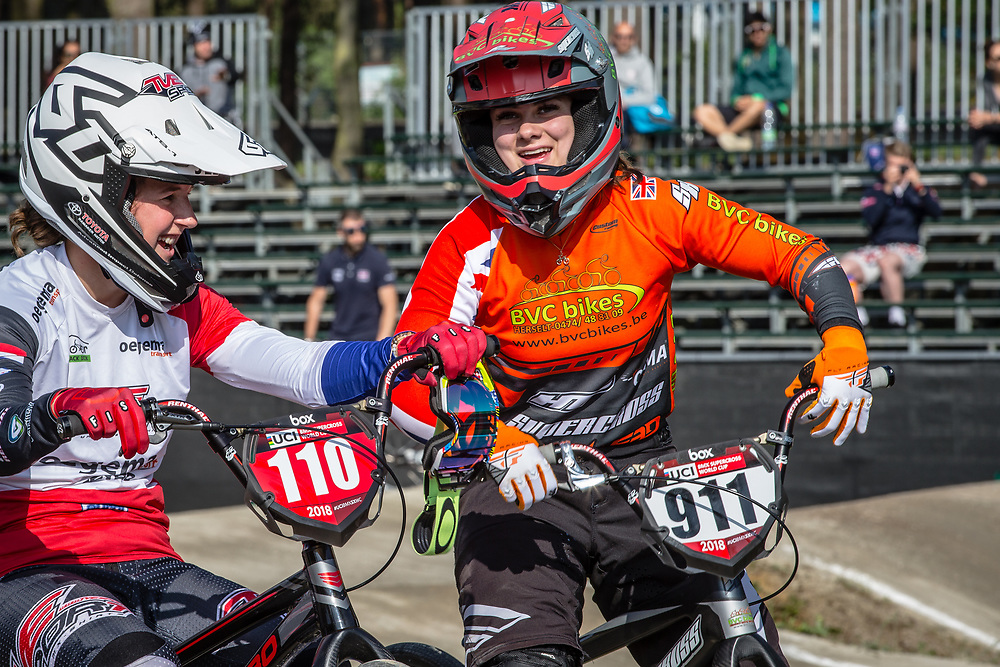 #110 (SMULDERS Laura) NED and #911 (SHRIEVER Bethany) GBR during practice at Round 5 of the 2018 UCI BMX Superscross World Cup in Zolder, Belgium