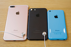 September 16, 2016 - Tokyo, Japan - (L to R) The new iPhone 7 Plus with double camera and iPhone 7 next to an iPhone Color during the launch of Apple's new smartphones iPhone 7 and 7 Plus at its retail store in Omotesando on September 16, 2016, Tokyo, Japan. Apple fans who already reserved online lined up patiently before the store in order to be the first to get their hands on the new iPhone models. The new iPhone includes FeiCa touch pay technology, water resistance, a double camera (only 7 Plus model) and longer battery life; but does not include the traditional headphone jack. (Photo by Rodrigo Reyes Marin/AFLO) (EQ Images) SWITZERLAND ONLY (Credit Image: © Rodrigo Reyes Marin/EQ Images via ZUMA Press)