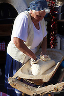 Women from Dél Alfodi Régio (South Alfoldi ) preparing dough for Lepeny -  Hungarian Regional Gastronomic Festival 2009 - Gyor ( Gy?r ) Hungary .<br /> <br /> Visit our HUNGARY HISTORIC PLACES PHOTO COLLECTIONS for more photos to download or buy as wall art prints https://funkystock.photoshelter.com/gallery-collection/Pictures-Images-of-Hungary-Photos-of-Hungarian-Historic-Landmark-Sites/C0000Te8AnPgxjRg