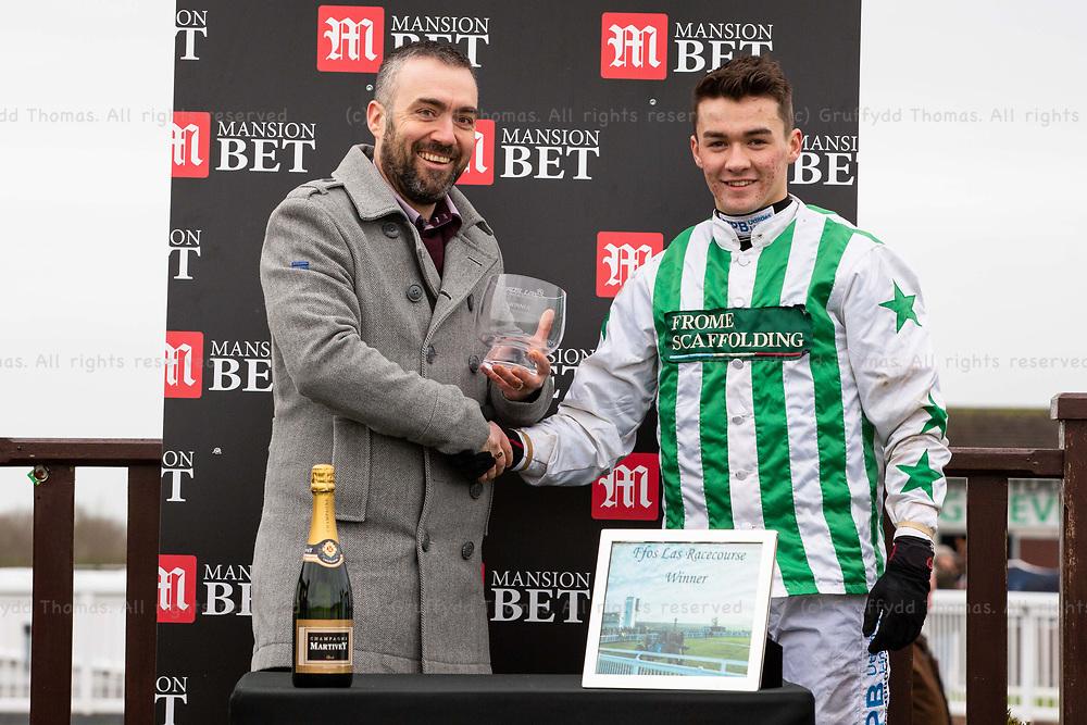 Ffos Las Racecourse, Trimsaran, Wales, UK. Monday 17 December 2018. Mitchell Bastyan, winner of the Mansionbet Conditional Jockeys' Handicap Hurdle (Race 1)