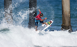 July 31, 2018 - Huntington Beach, California, United States - Huntington Beach, CA - Tuesday July 31, 2018: Italo Ferreira in action during a World Surf League (WSL) Qualifying Series (QS) Men's round of 96 heat at the 2018 Vans U.S. Open of Surfing on South side of the Huntington Beach pier. (Credit Image: © Michael Janosz/ISIPhotos via ZUMA Wire)