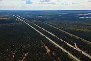 Nederland, Gelderland, Gemeente Barneveld, 30-06-2011; Rijksweg A1 over de Veluwe, ter hoogte van Stroe..Highway A1 through nature area the Veluwe, the Netherlands..luchtfoto (toeslag), aerial photo (additional fee required).copyright foto/photo Siebe Swart