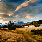 Heather Goodrich riding Las Carretas to Paine Grande in Torres del Paine National Park. Ride ends or begins at Lago Pehoe Ferry - 20km ride within park boundaries.