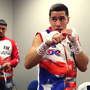 NEW ORLEANS, LA - JULY 14:  Jean Carlos Rivera is seen in the locker room as he preps for his fight against Angel Luna during the Regis Prograis v Juan Jose Velasco ESPN boxing match at the UNO Lakefront Arena on July 14, 2018 in New Orleans, Louisiana.  (Photo by Alex Menendez/Getty Images) *** Local Caption *** Jean Carlos Rivera; Angel Luna