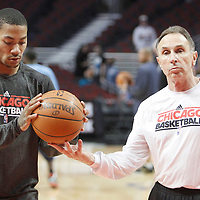 26 March 2012: Chicago Bulls point guard Derrick Rose (1) and assistant coach Ron Adams are seen prior to the Denver Nuggets 108-91 victory over the Chicago Bulls at the United Center, Chicago, Illinois, USA. NOTE TO USER: User expressly acknowledges and agrees that, by downloading and or using this photograph, User is consenting to the terms and conditions of the Getty Images License Agreement. Mandatory Credit: 2012 NBAE (Photo by Chris Elise/NBAE via Getty Images)