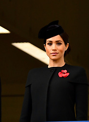 The Duchess of Sussex during the remembrance service at the Cenotaph memorial in Whitehall, central London, on the 100th anniversary of the signing of the Armistice which marked the end of the First World War.