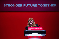 © Licensed to London News Pictures. 25/09/2021. Brighton, UK. ANGELA RAYNER delivers the Deputy Leader's speech at the conference . The first day of the 2021 Labour Party Conference , which is taking place at the Brighton Centre . Photo credit: Joel Goodman/LNP