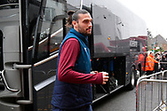 Andy Carroll (9) of West Ham United gets off the team bus on arrival at the Vitality Stadium before the Premier League match between Bournemouth and West Ham United at the Vitality Stadium, Bournemouth, England on 19 January 2019.
