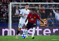 December 12, 2018 - Valencia, U.S. - VALENCIA, SPAIN - DECEMBER 12: Fred, forward of Manchester United competes for the ball with Santi Mina, forward of Valencia CF during the UEFA Champions League group stage H football match between Valencia CF and Manchester United FC at Mestalla stadium on December 12, 2018, in Valencia, Spain. (Photo by Carlos Sanchez Martinez/Icon Sportswire) (Credit Image: © Carlos Sanchez Martinez/Icon SMI via ZUMA Press)