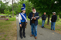 Buglar Jessaly Brown from Interlakes High School talks with Bob O'Neill of American Legion Post 33 prior to the Meredith Center Memorial Day service held at Oakland Cemetery on Monday morning.  (Karen Bobotas/for the Laconia Daily Sun)