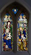 Stained glass window c 1906 Nativity scene,  Thorpe Morieux church, Suffolk, England, UK