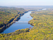 Aerial view of the Wisconsin River Valley, near Lone Rock, Wisconsin.