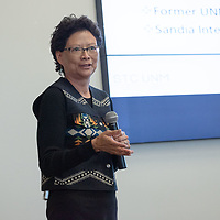 STC.UNM Chair and Mentor Sandra Begay explains to the group what has worked for successful startup companies, at UNM-Gallup on Friday.