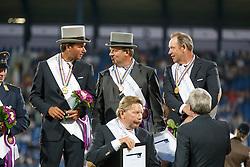 Gold medal, Team Netherlands, Chardon IJsbrand, De Ronde Koos, Timmerman Theo, De Ruyter Harrie<br /> Marathon Driving Competition<br /> FEI European Championships - Aachen 2015<br /> © Hippo Foto - Dirk Caremans<br /> 22/08/15