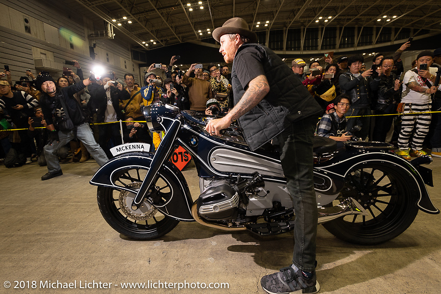 RSD's Roland Sands rides the Concept 7 BMW RnineT he designed with Aaron Boss in the Grand Entry into the 27th Annual Mooneyes Yokohama Hot Rod Custom Show 2018. Yokohama, Japan. Sunday, December 2, 2018. Photography ©2018 Michael Lichter.