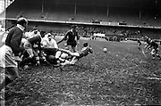 19/01/1963<br /> 01/19/1963<br /> 19 January 1963<br /> International Rugby Trials at Lansdowne Road, Dublin. Following a scrum, Blues Scrum-half Woods (9) gets the ball neatly away with team mate Donaldson (6) on left.