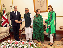 The Duke and Duchess of Cambridge during an official meeting with the President of Pakistan Arif Alvi and first lady Samina Alvi at the Presidential Palace in Islamabad during the second day of the royal visit.