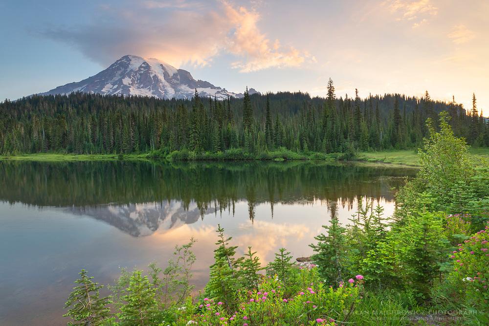 Sunrise over Mount Rainier seen from Reflection Lake. Mount Rainier National Park Washington