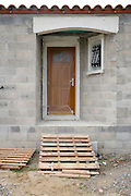 front door of a house under construction