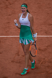 June 2, 2017 - Paris, France - Kristina Mladenovic of France joy after defeated Shelby Rogers of United States during the third round at Roland Garros Grand Slam Tournament - Day 6 on June 2, 2017 in Paris, France. (Credit Image: © Robert Szaniszlo/NurPhoto via ZUMA Press)