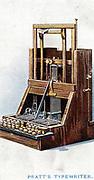 Typewriter patented by John Pratt in 1866 . Chromolithograph  1915
