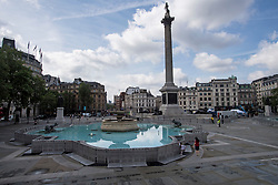 © Licensed to London News Pictures. 12/06/2021. London, UK. Work continues on the construction of a new Fan Zone at Trafalgar Square in central London ahead England's opening fixture in the 2020 UEFA European Football Championship tomorrow. Fans will be able to watch England games on a giant screen in the centre of the capital. Photo credit: Ben Cawthra/LNP