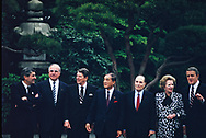Reagan with heads of State at the Tokyo Summit on May 4, 1986<br />Photo by Dennis Brack