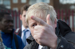 © Licensed to London News Pictures. 03/03/2016. London, UK. Mayor of London Boris Johnson gestures as he campaigns for Conservative candidate for Mayor Zac Goldsmith (unseen) in Sidcup. Photo credit: Peter Macdiarmid/LNP