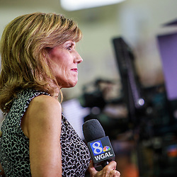 Mechanicsburg, PA – August 1, 2016: Barbara Barr, a reporter for WGAL TV Channel 8, prepares to file a live report.