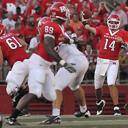 Sept 1, 2008; Piscataway, NJ, USA; Rutgers senior quarterback Mike Teel (14) throws a pass to Rutgers tight end Kevin Brock (89) during the second quarter of Rutgers 24-7 loss to Fresno State.