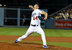September 7, 2017 - Los Angeles, California, U.S. - Los Angeles Dodgers relief pitcher Walker Buehler throws to the plate against the Colorado Rockies in his major league debut in the eighth inning of a Major League baseball game at Dodger Stadium on Thursday, Sept. 07, 2017 in Los Angeles. (Photo by Keith Birmingham, Pasadena Star-News/SCNG) (Credit Image: © San Gabriel Valley Tribune via ZUMA Wire)