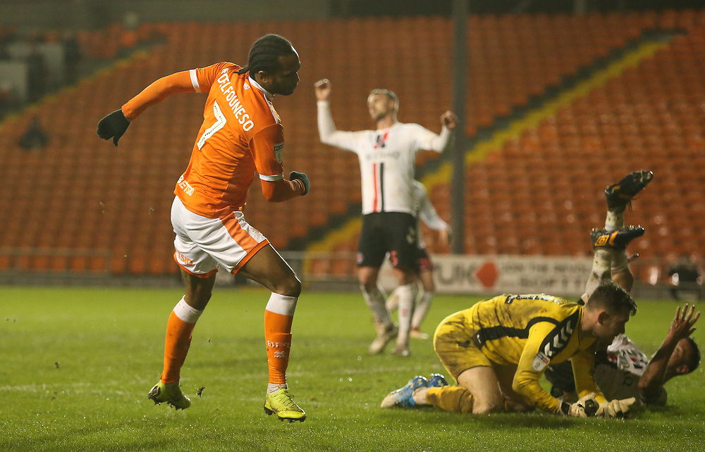 Blackpool's Nathan Delfouneso celebrates scoring his side's second goal <br /> <br /> Photographer Stephen White/CameraSport<br /> <br /> The EFL Sky Bet League One - Blackpool v Charlton Athletic - Saturday 8th December 2018 - Bloomfield Road - Blackpool<br /> <br /> World Copyright © 2018 CameraSport. All rights reserved. 43 Linden Ave. Countesthorpe. Leicester. England. LE8 5PG - Tel: +44 (0) 116 277 4147 - admin@camerasport.com - www.camerasport.com