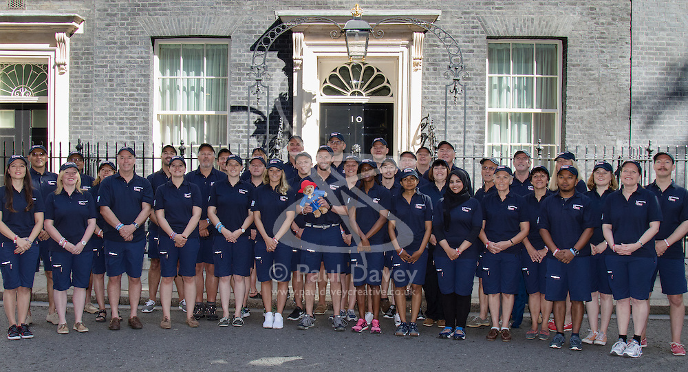 Downing Street, Westminster, August 28th 2015. The crew of the yacht Great Britain join Skipper Peter Thornton outside 10 Downing Street ahead of the first race's start off Southend on Monday August 31 at 12.30pm. Some cre members will be competing only on specific legs of the race while others will be doing the full global circumnavigation.