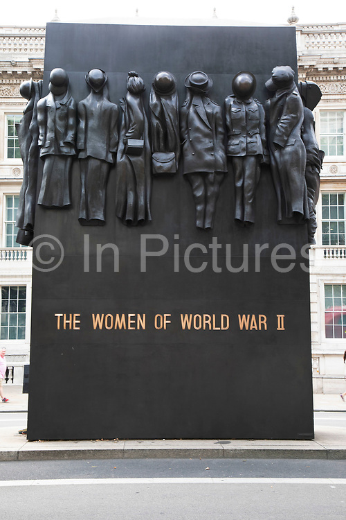 Memorial to the Women of World War II on Whitehall in London, United Kingdom. The Monument to the Women of World War 2 is a British national war memorial that recognises all of the many roles which women had such a great upon during the Second World War.