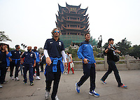 Argentine football star Javier Zanetti, front center, and his teammates of Inter Milan legends visit the Yellow Crane Tower ahead of the 2014 China-Italy The Football Legends Challenge Match in Wuhan city, central China's Hubei province, 17 October 2014.<br /> <br /> Javier Zanetti led Inter Milan legends to visit the Yellow Crane Tower in Wuhan city, central Chinas Hubei province, on Friday (17 October 2014). The 2014 China-Italy The Football Legends Challenge Match will kick off on Sunday.