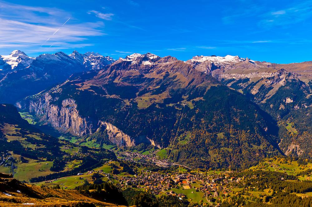 View down to Wengen from Mannlichen, Swiss Alps, Canton Bern, Switzerland