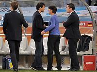 Fotball<br /> VM 2010<br /> Tyskland v Argentina<br /> 03.07.2010<br /> Foto: Witters/Digitalsport<br /> NORWAY ONLY<br /> <br /> Schlussjubel v.l. Michael Ballack, Bundestrainer Joachim Loew (Deutschland)<br /> Fussball WM 2010 in Suedafrika, Viertelfinale, Argentinien - Deutschland 0:4