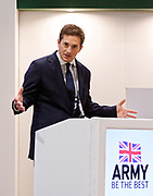 London, United Kingdom - 12 September 2019<br /> Johnny Mercer MP, Parliamentary Under-Secretary of State for Defence People and Veterans for the UK Government gives a keynote address speech and answers questions from the audience at DSEI 2019 security, defence and arms fair at ExCeL London exhibition centre.<br /> (photo by: EQUINOXFEATURES.COM)<br /> Picture Data:<br /> Photographer: Equinox Features<br /> Copyright: ©2019 Equinox Licensing Ltd. +443700 780000<br /> Contact: Equinox Features<br /> Date Taken: 20190912<br /> Time Taken: 10193424<br /> www.newspics.com