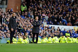 Everton Manager, Roberto Martinez and Liverpool Manager, Brendan Rodgers look on - Photo mandatory by-line: Dougie Allward/JMP - Tel: Mobile: 07966 386802 23/11/2013 - SPORT - Football - Liverpool - Merseyside derby - Goodison Park - Everton v Liverpool - Barclays Premier League