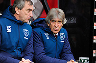 West Ham Utd manager Manuel Pellegrini looks concerned before during the Premier League match between Bournemouth and West Ham United at the Vitality Stadium, Bournemouth, England on 19 January 2019.